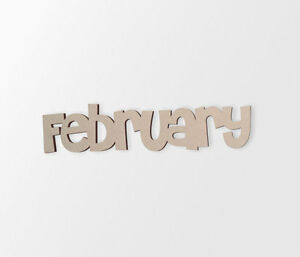 Wall Decor, February Word - Cutout, Home Decor, Unfinished