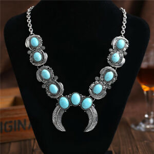 Vintage-Boho-Blue-Turquoise-Stone-Silver-Chain-Necklace-Pendant-Fahion-Jewelry