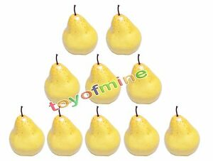 10-Pcs-Artificial-Pear-Large-Plastic-Decorative-Fruit-Yellow-Pears-Fake