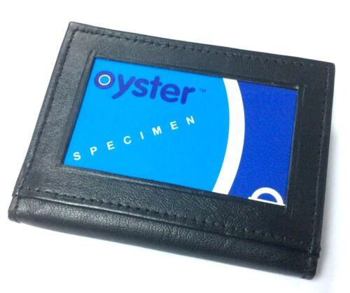 MENS LEATHER ULTRA SLIM MINI CREDIT CARD  CASE WALLET BLACK UK P/&P 107