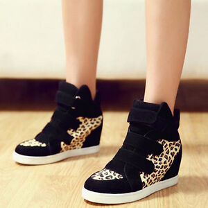 Stylish-Fashion-Ladies-Women-Wedge-Heels-High-Top-Ankle-Boots-Sneakers