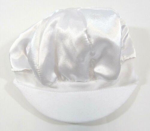 Baby Christening Baptism Frilly Bib Tie Up Beaded Bonnet Hat Ivory White Cap