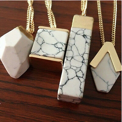 1Pc Fashion White Turquoise Pendant Long Necklace Sweater Chain Jewelry NEW