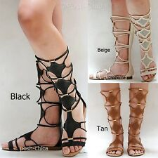 New Women IA28 Black Tan Beige Strappy Gladiator Mid-Calf Tall Sandals
