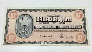 1976-Canadian-Tire-10-Ten-Cents-CTC-S5-C-Circulated-Olympic-Money-Banknote-E059