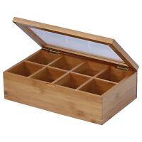 Tea Bag Organizer Bamboo Storage Box Holder 8 Sections Glass Display Chest