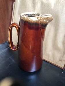 Vintage Hull USA Oven Proof Brown Drip Glaze Pottery Pitcher Jug W Handle & Pour