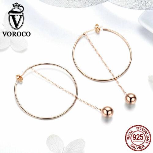 Voroco 925 stlering Argent Elfe Boule Boucles D/'oreilles Pendentif Charme Zircone Cubique Pour femmes Bijoux
