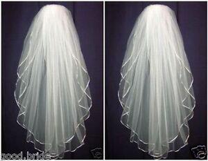 New-Vintage-2T-White-Wedding-Bridal-Elbow-Satin-Edge-Veil-With-Comb