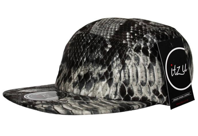 Rare Exclusive ITZU Snakeskin 5 Panel Snapback Cap Snake Skin Snap Back Brown