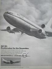 7/70 PUB MCDONNELL DOUGLAS AVION DC-10 AIRLINER AIRLINES KLM SAS ORIGINAL AD