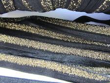 10 yards Metallic Elastic Band 15mm Lace Trim/Trimming/Sewing T193-Gold/Black