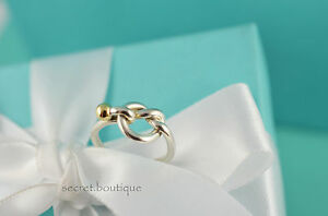 AUTHENTIC-Tiffany-amp-Co-18K-Gold-amp-Sterling-Silver-Knot-Ring-Size-5-25-728