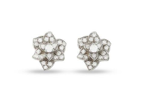 Argent Sterling 925 Boucles D/'Oreille Zircone Cubique Fleur Rond Blanc Pour Femmes-Classique