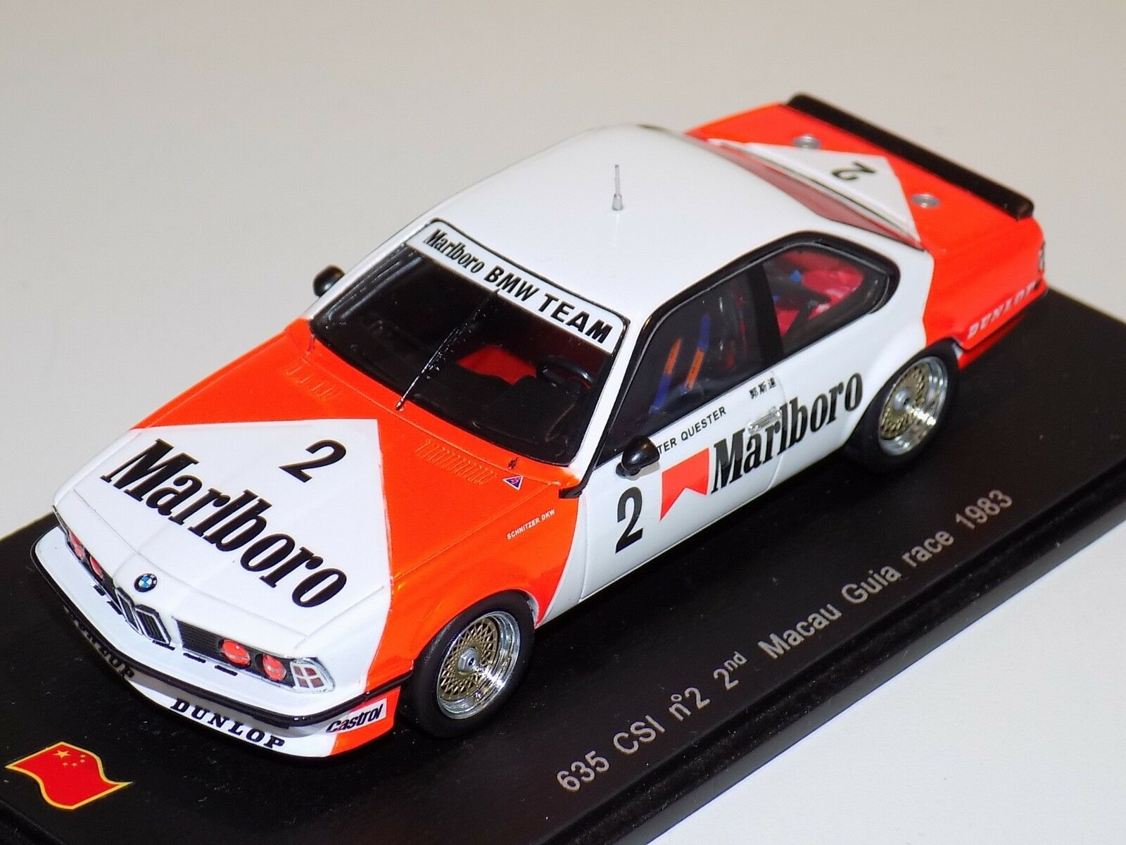 1 43 Spark BMW 635 CSI voiture  2 2nd 1983 Macau Guia Race SA053 Marlbor