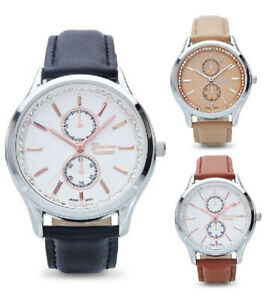 Geneva-Women-039-s-Quartz-Stainless-Steel-Faux-Leather-Watch-in-Gift-Box-10008