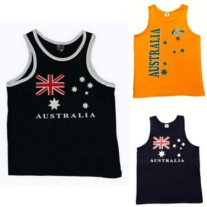 Mens-Singlet-T-Shirt-Australian-Australia-Souvenir-Cotton-Green-amp-Gold-Flag