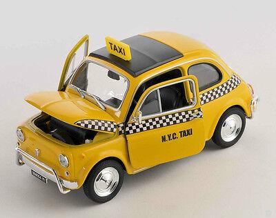BLITZ VERSAND Fiat Nuova 500 NYC TAXI ab 1957 gelb yellow 1:24 Welly Modell NEU