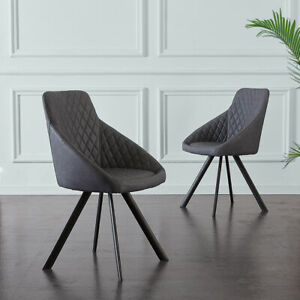 Details About 2X Grey Luxury PU Dining Chairs Tub Chairs Living Room Metal  Legs Furniture