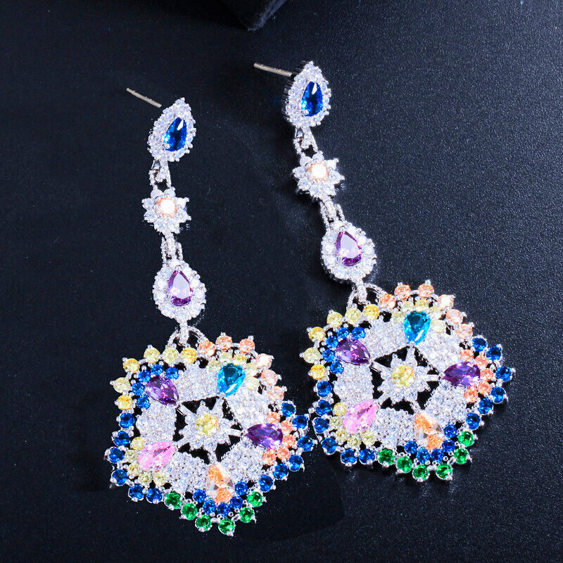 Amazing 18K White gold Plate colorful CZ Runway Earrings