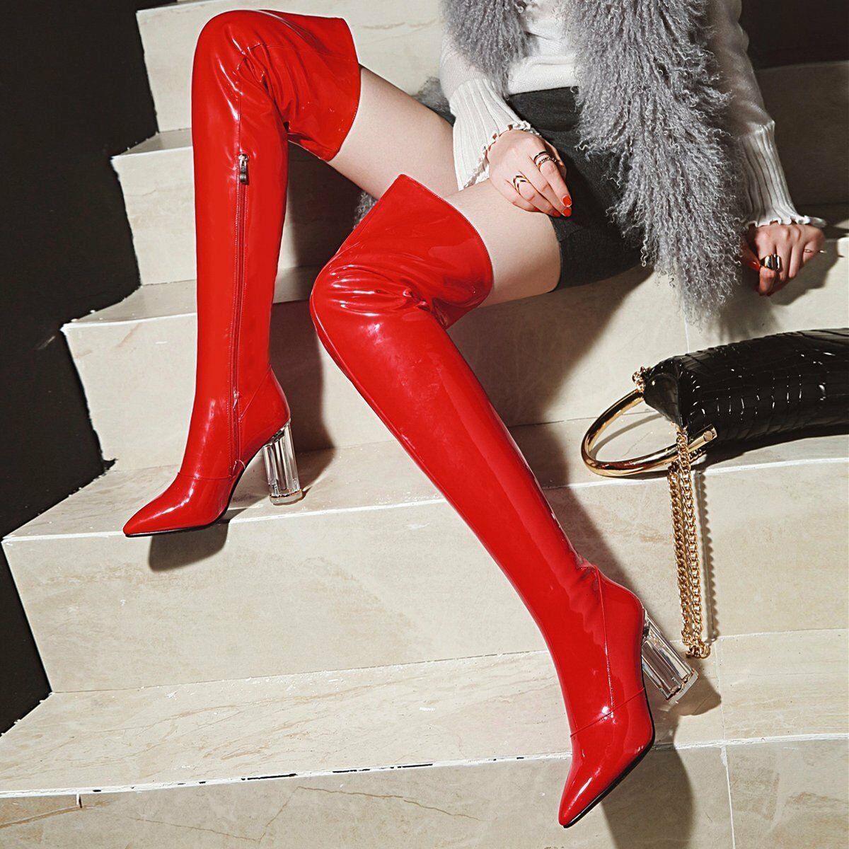 Women's Patent Leather Leather Leather High Heel Over The Knee Thigh Boots NIghtclub Sexy shoes 67bcc2