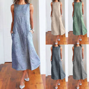 Women-Casual-Striped-Sleeveless-Dress-Crew-Neck-Linen-Pocket-Long-Loose-Dress