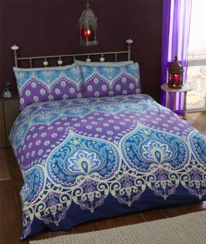 INDIAN HENNA-STYLE PURPLE BLUE COTTON BLEND DOUBLE 4 PIECE BEDDING SET