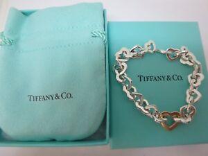 594c809d52d Tiffany & Co 18K Gold & Sterling Silver Heart Link Bracelet 7.5