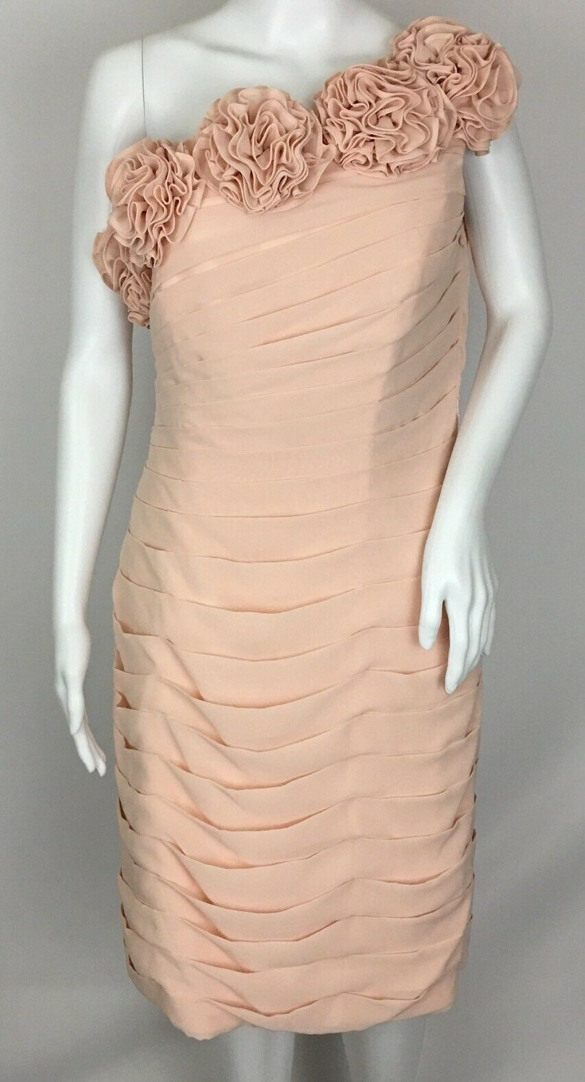 JJ's House Pearl Pink One Shoulder pinkttes Horizontal Pleats Dress Gown Size 12