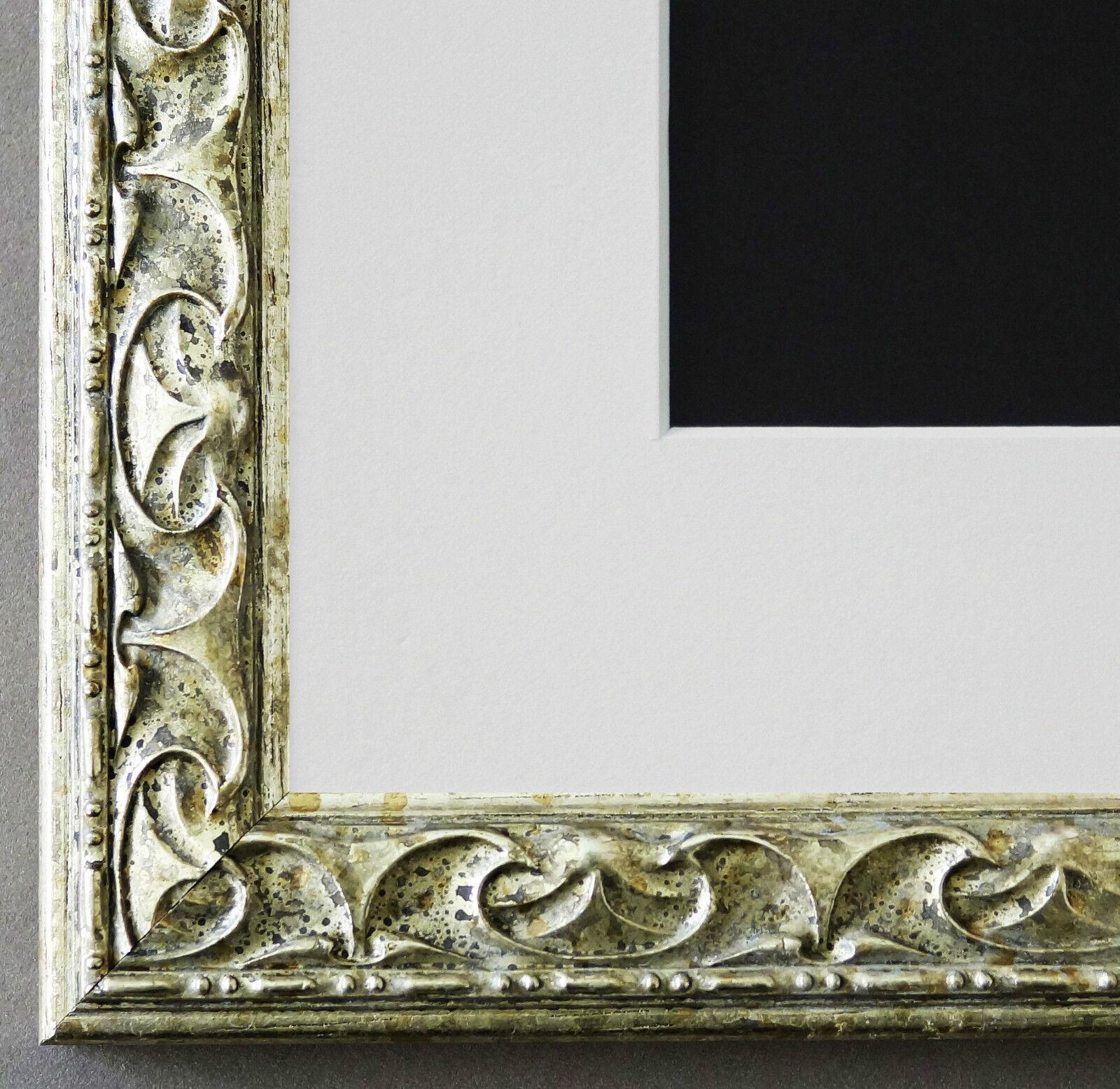 Bilderrahmen Mantova in Silber mit Passepartout in Weiss 3,1 Top Qualität
