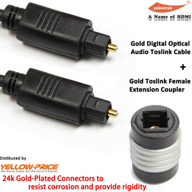 YellowKnife Gold Toslink-to-Optical Mini Plug Digital Cable+Optical Mini Adapter