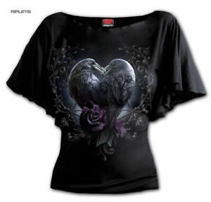 Spiral-Ladies-Gothic-Ladies-Crow-Purple-Roses-RAVEN-HEART-Bat-Wing-Top-All-Sizes