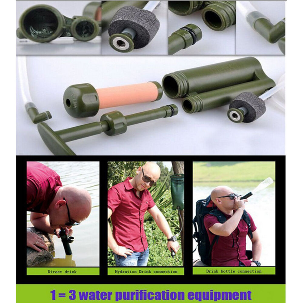 Portable Water Filter Pump Purifier for Hiking Camping Soldier Outdoor Equipment
