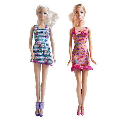 Handmade Fashion Set//2 Pink yellow Striped Dress Set Blue Striped Mini dress