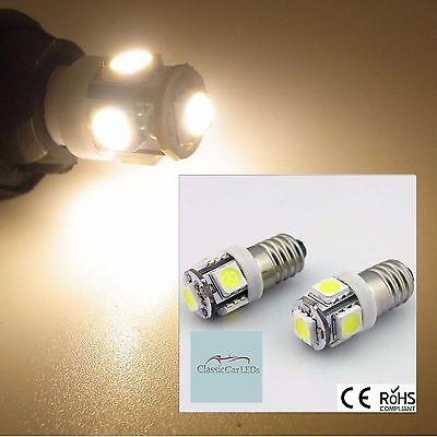 2x WARM WHITE 24 VOLT 24V CLASSIC COMMERCIAL LED INSTRUMENT GAUGE BULBS E10MES