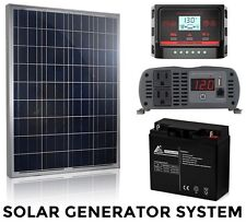 Solar Power Generator System - Complete Ready Kit 100W Panel 1000W Inverter NEW