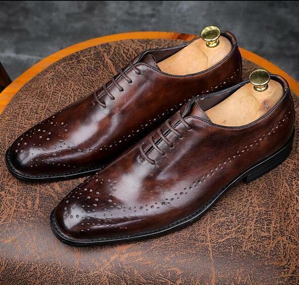 Homme Dress Formal Richelieu à Derbies chaussures Bout Rond en Cuir Véritable à Lacets Business