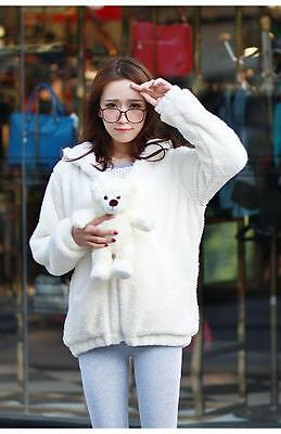 2015 Amo BEAR RABBIT Ears Plush Cardigan Sweater Lolita Hooded Student Coat Cute
