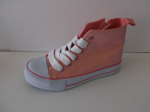 GIRLS SPOT ON LACE UP CANVAS SHOES GLITTER DETAIL PINK BLACK TRAINERS H4093