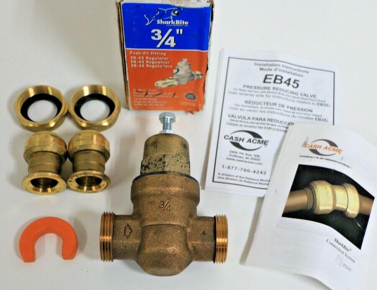 EB25-DUSB Double Union Shark Bite Cash Acme 23955-0045 Pressure Regulator 3//4