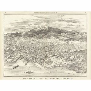Map-ATCJ-1894-Bird-039-s-Eye-View-Hobart-Tasmania-Australia-Wall-Art-Canvas-Print