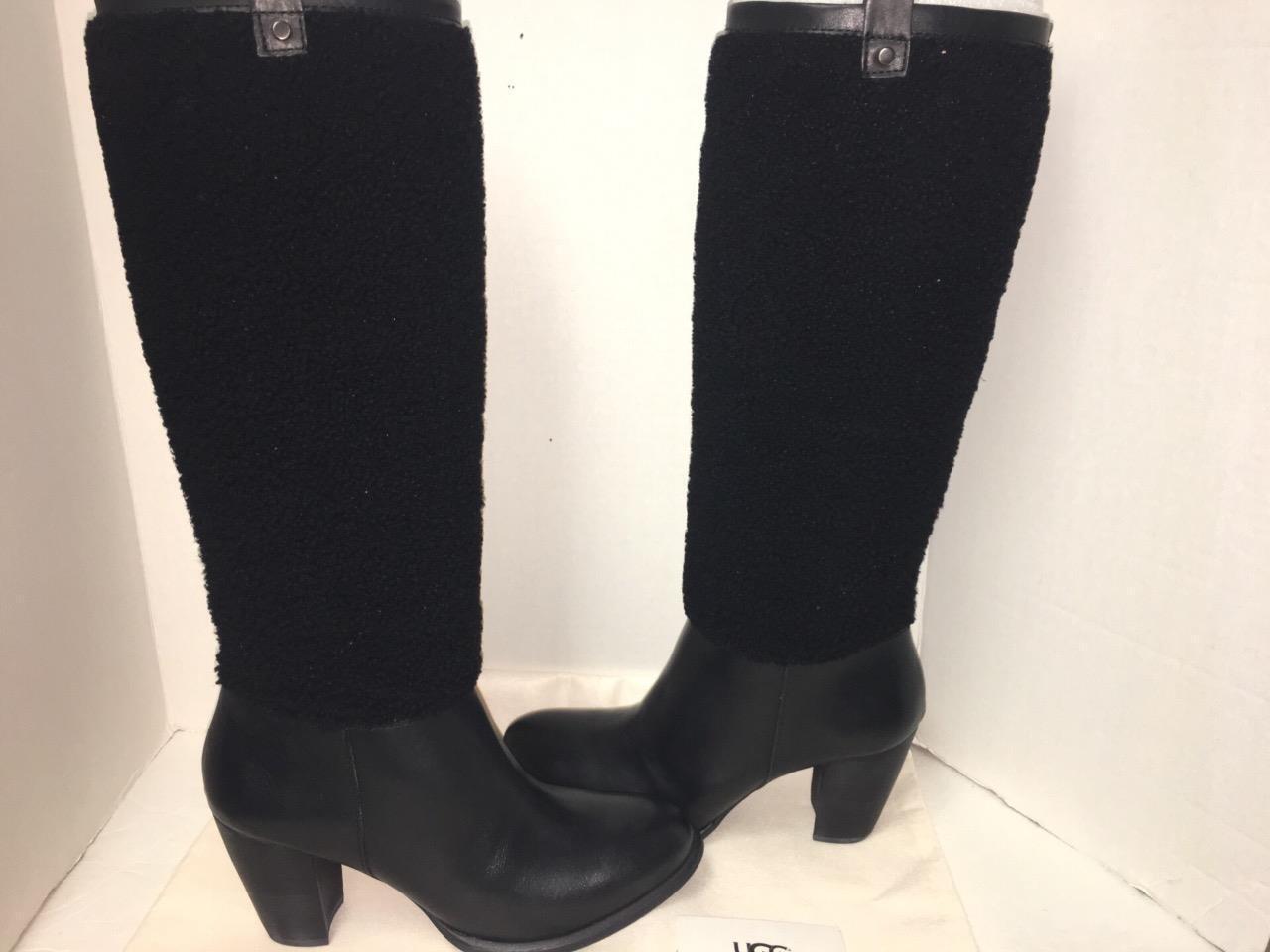 2fc1bc23077 UGG Australia Ava Exposed Fur Black Women BOOTS 1013677 Sz 8