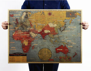Large-World-Map-Vintage-Poster-World-War-Front-Map-Art-Wall-decor-28-034-x21-034-Gift