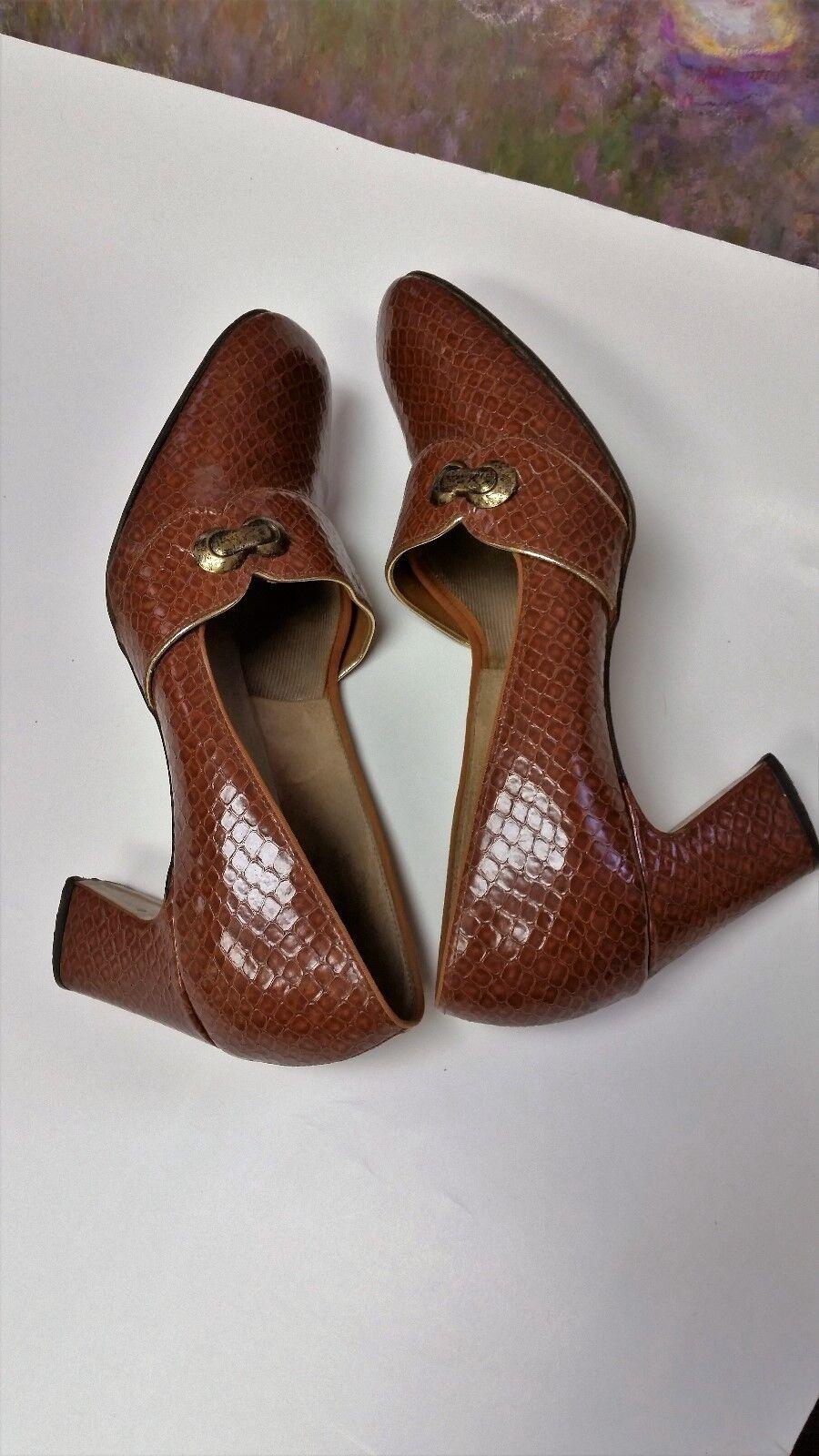 Vintage FANFARES Womens Sz 7.5a Print Brazil Brown Leather Snake Print 7.5a Shoes 2.5