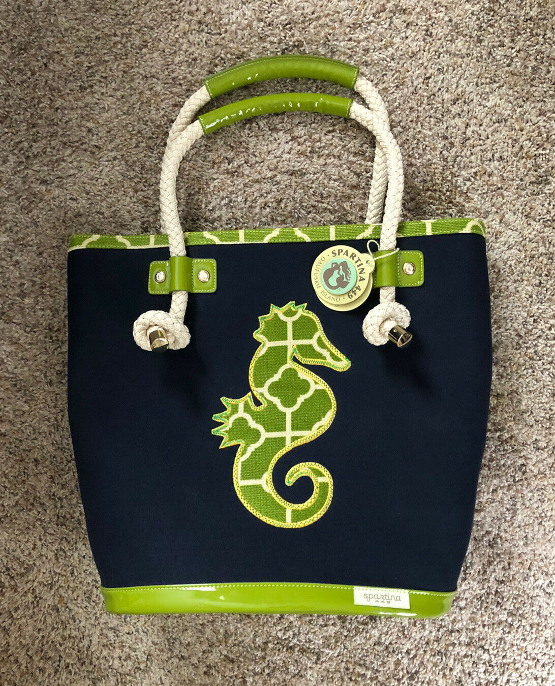 SPARTINA Seahorse Navy Canvas/Patent Leather Green X-Large Beach/Tote Bag - New!