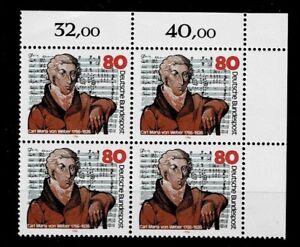 Bund Brd Minr 1284 Cachet ** Groupe Bloc Coin 2-afficher Le Titre D'origine