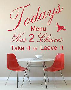 Dettagli su Il menu di oggi preventivo-Vinyl Wall Art Sticker Decal Murale,  Cucina/Sala da Pranzo- mostra il titolo originale