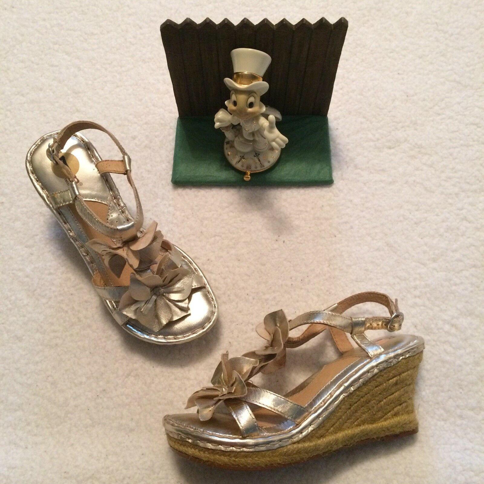 New J CREW 7 Tassel Sandal Gray Green Silver Neon T Strap Career Party leather