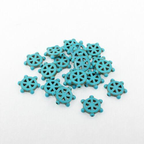 BD1409 8 Turquoise Howlite Beads Ship Wheel Shape 14mm x 17mm Gemstone