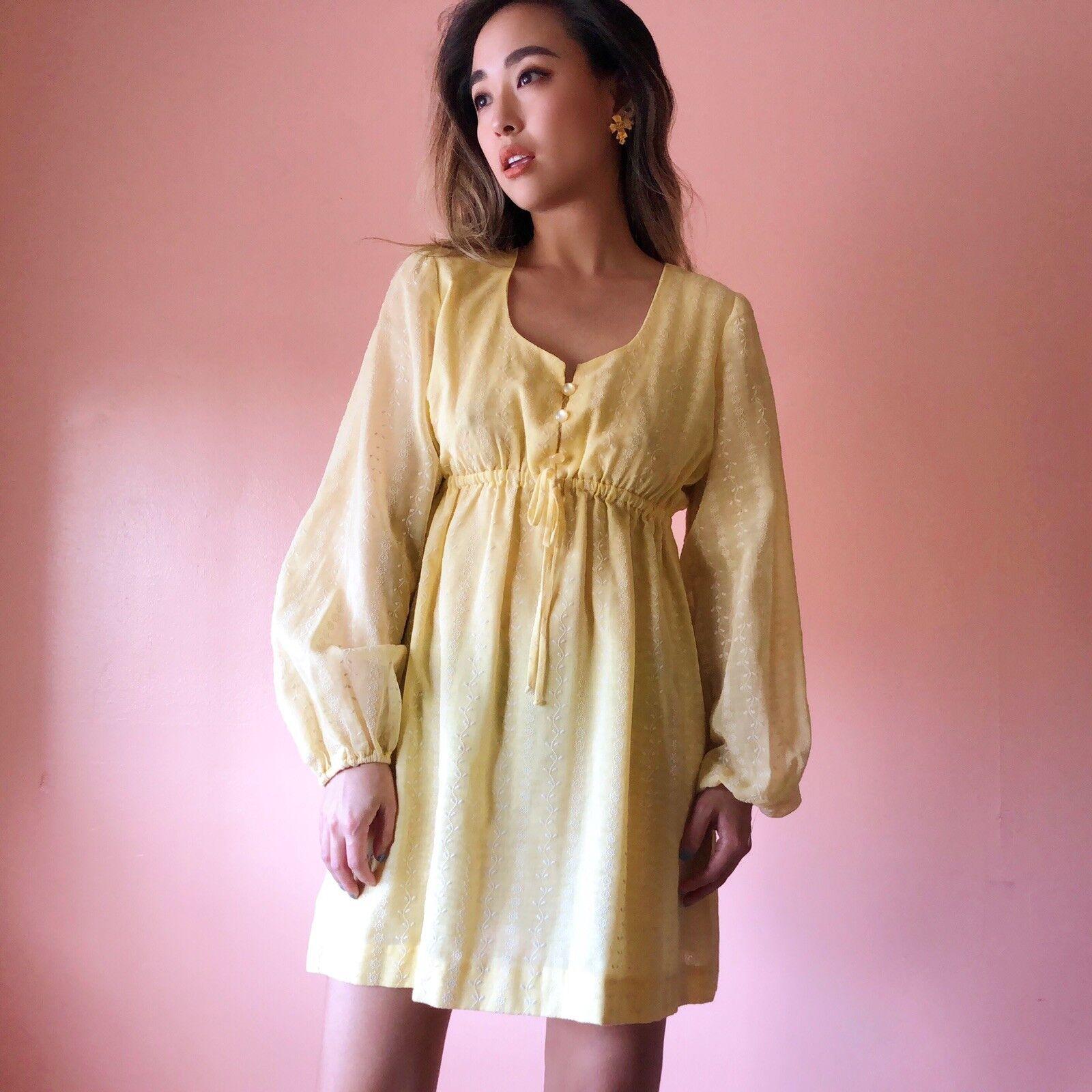Vintage Sunshine Embroidered Mini Dress